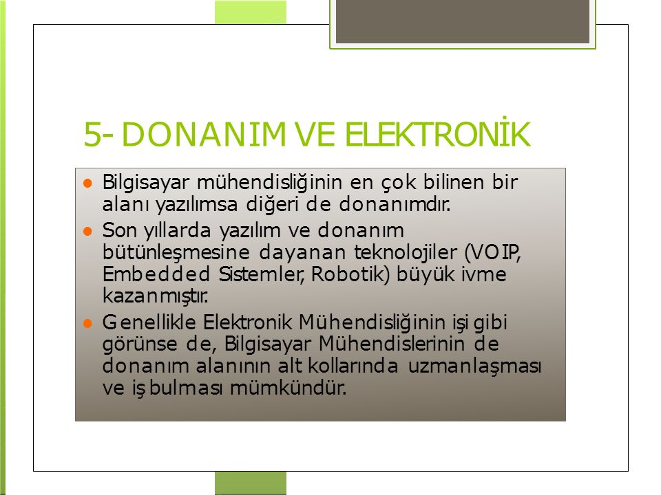 5- DONANIM VE ELEKTRONİK