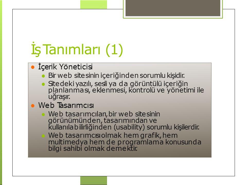 İş Tanımları (1) İçerik Yöneticisi Web Tasarımcısı