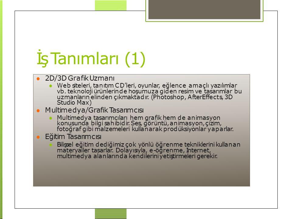 İş Tanımları (1) 2D/3D Grafik Uzmanı Multimedya/Grafik Tasarımcısı