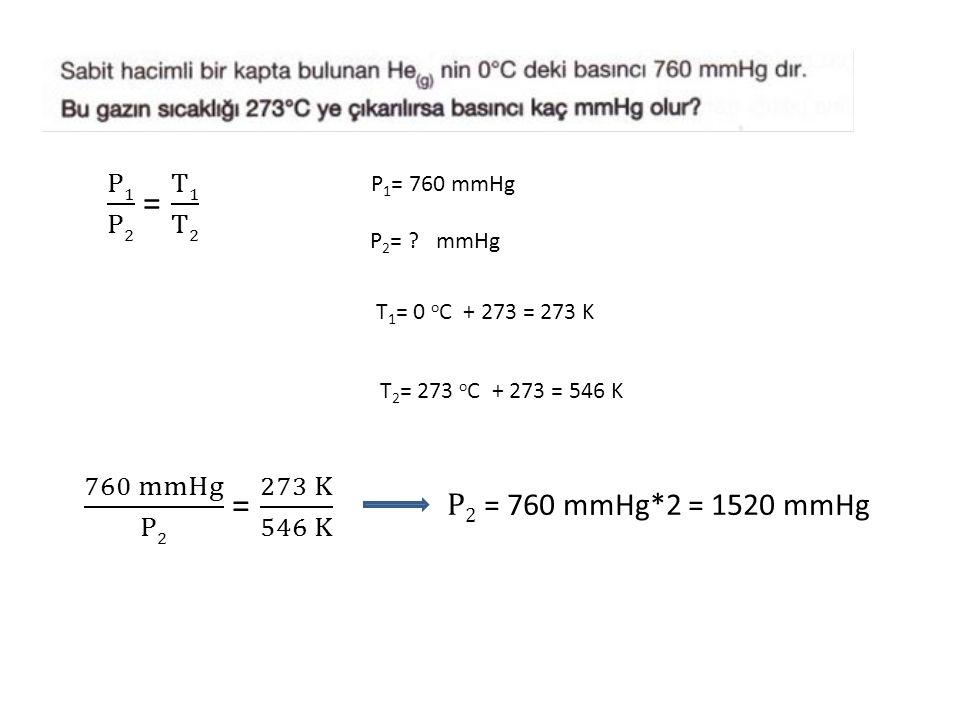 P1 P2 = T1 T2 760 mmHg P2 = 273 K 546 K P2 = 760 mmHg*2 = 1520 mmHg