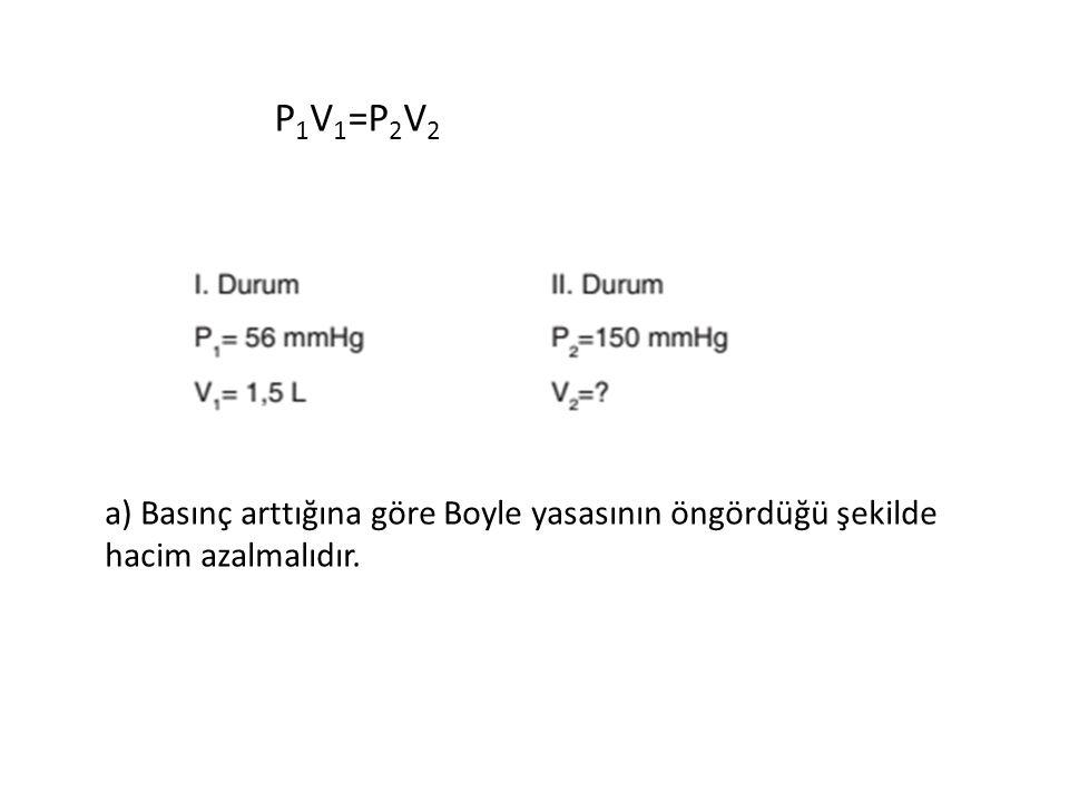 P1V1=P2V2 a) Basınç arttığına göre Boyle yasasının öngördüğü şekilde hacim azalmalıdır.