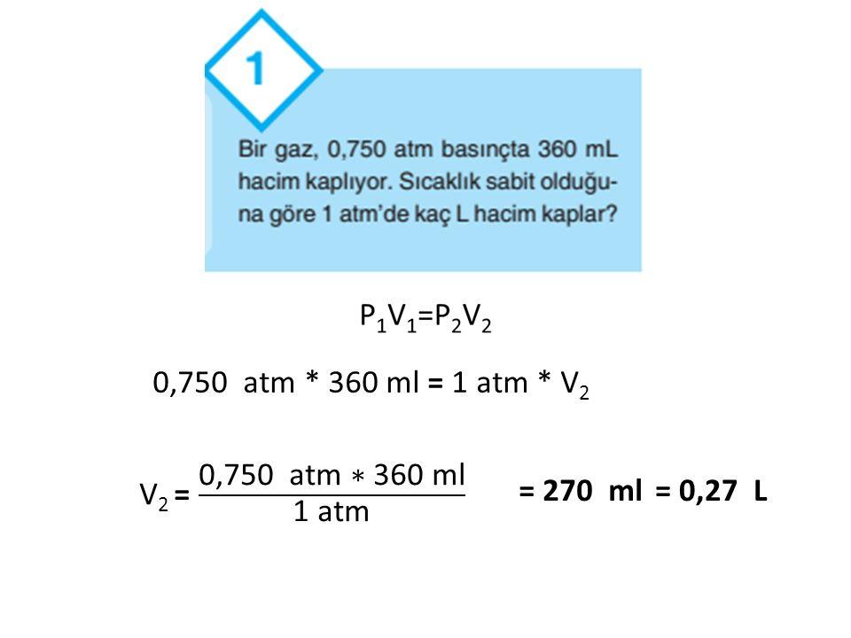 0,750 atm * 360 ml = 1 atm * V2 V2 = 0,750 atm ∗ 360 ml 1 atm = 270 ml = 0,27 L