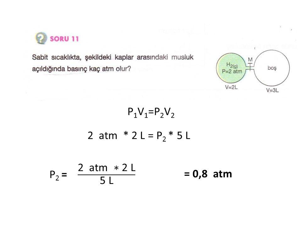 2 atm * 2 L = P2 * 5 L P2 = 2 atm ∗ 2 L 5 L = 0,8 atm