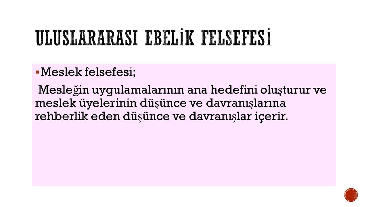 ULUSLARARaSI EBELİK FELSEFESİ