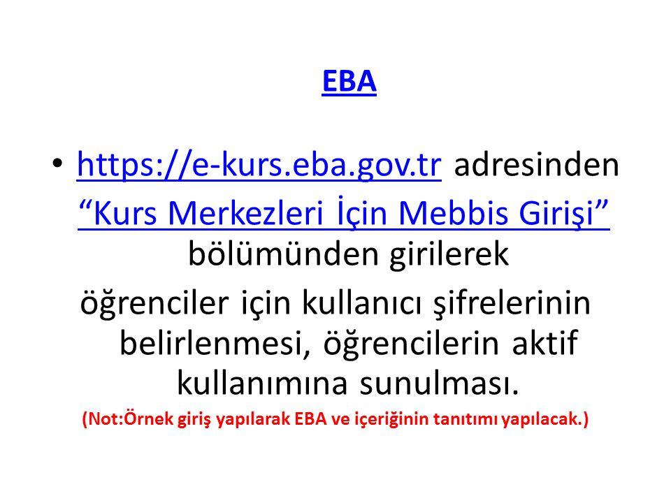 (Not:Örnek giriş yapılarak EBA ve içeriğinin tanıtımı yapılacak.)
