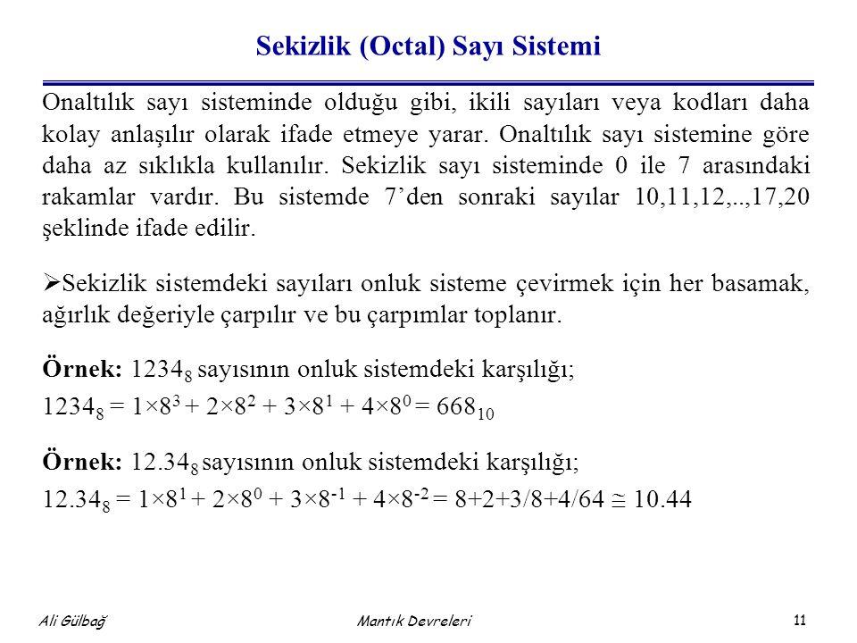 Sekizlik (Octal) Sayı Sistemi