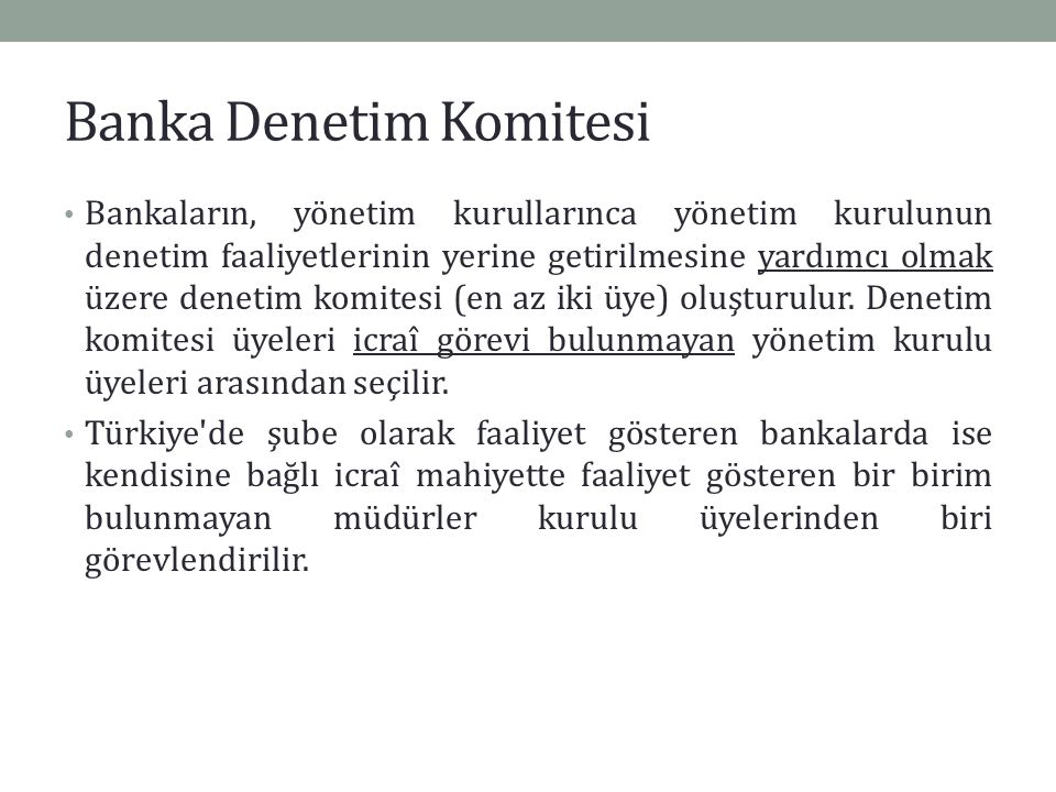 Banka Denetim Komitesi