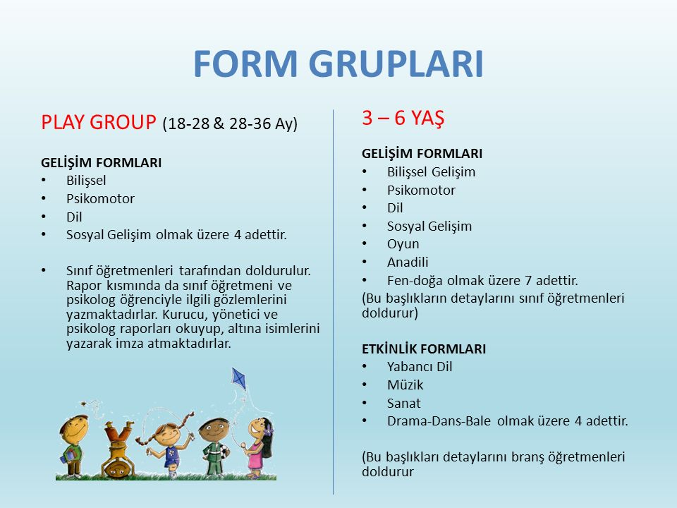 FORM GRUPLARI 3 – 6 YAŞ PLAY GROUP (18-28 & 28-36 Ay) GELİŞİM FORMLARI