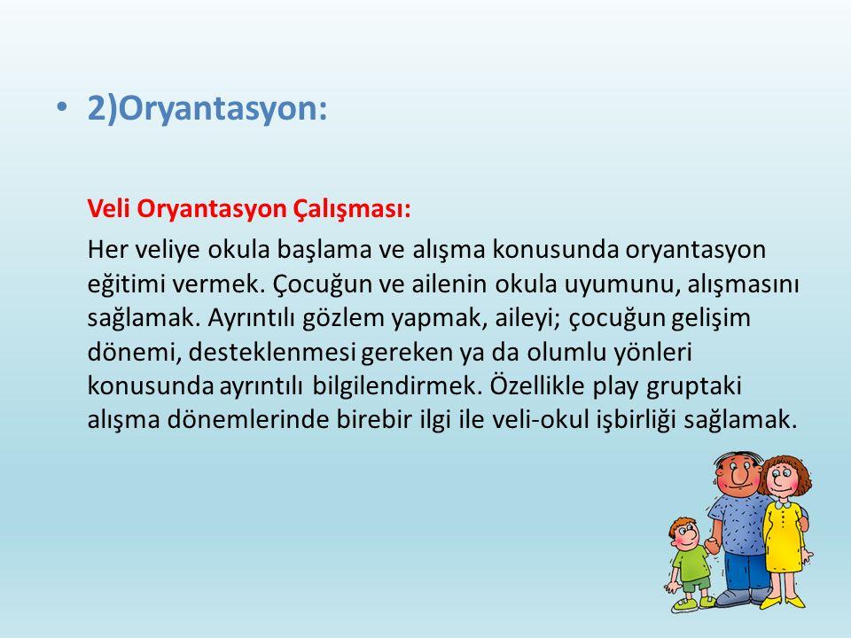 2)Oryantasyon: Veli Oryantasyon Çalışması: