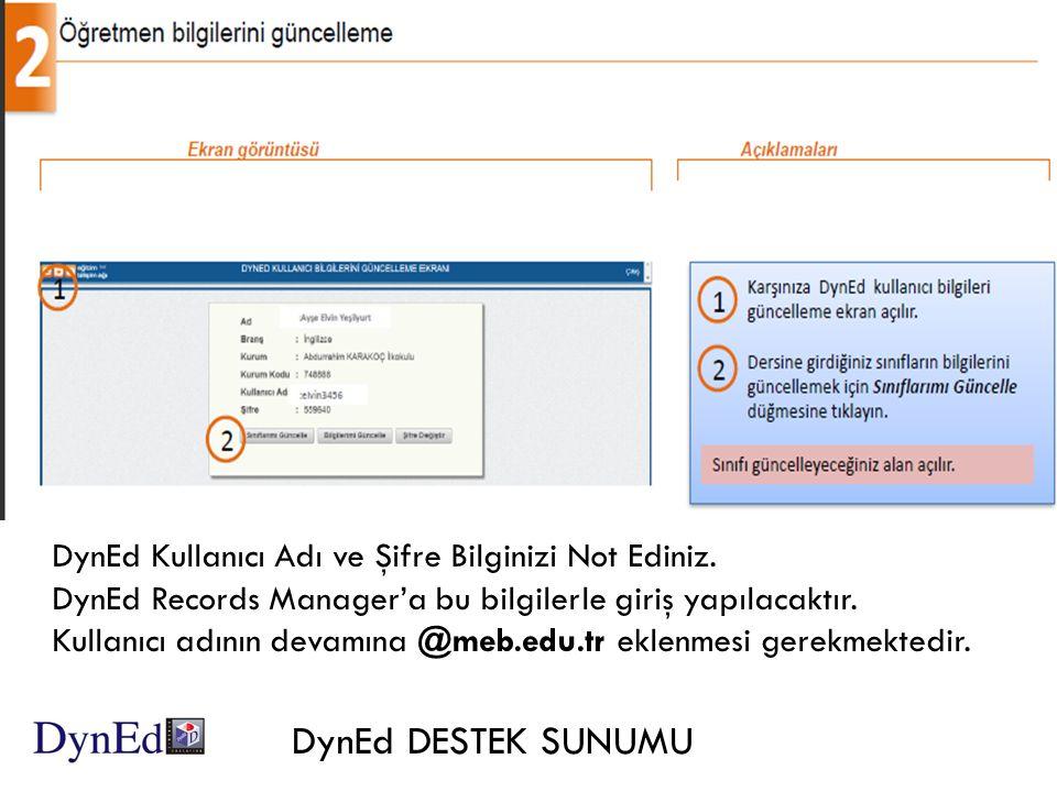 DynEd DESTEK SUNUMU DynEd Kullanıcı Adı ve Şifre Bilginizi Not Ediniz.