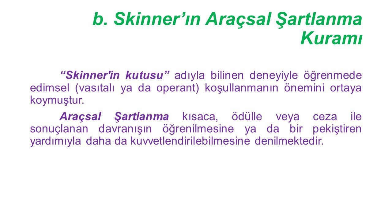 b. Skinner'ın Araçsal Şartlanma Kuramı
