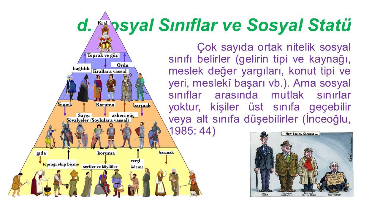 d. Sosyal Sınıflar ve Sosyal Statü