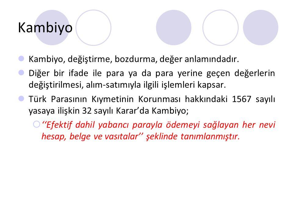 Kambiyo Kambiyo, değiştirme, bozdurma, değer anlamındadır.