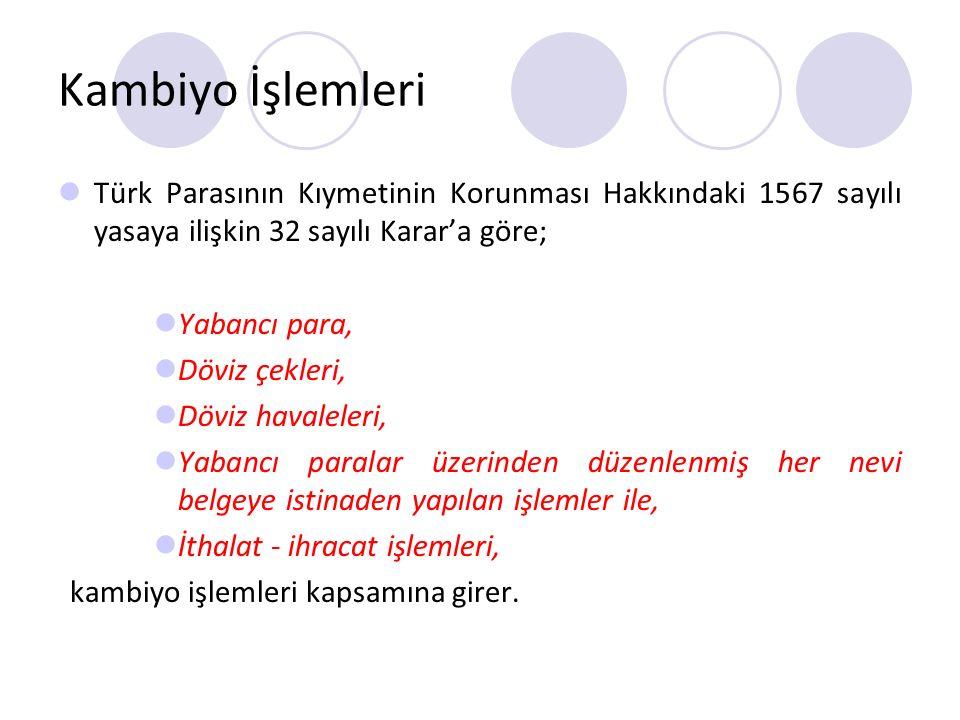 Kambiyo İşlemleri Türk Parasının Kıymetinin Korunması Hakkındaki 1567 sayılı yasaya ilişkin 32 sayılı Karar'a göre;