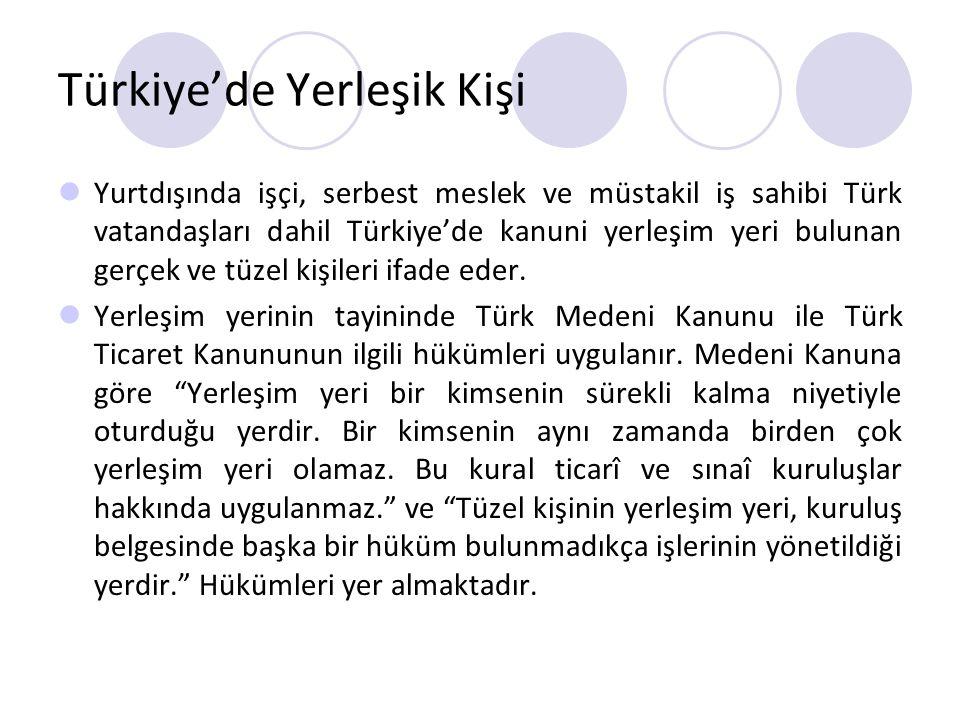 Türkiye'de Yerleşik Kişi