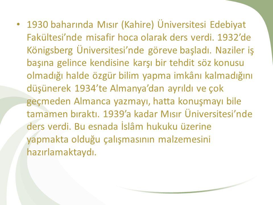 1930 baharında Mısır (Kahire) Üniversitesi Edebiyat Fakültesi'nde misafir hoca olarak ders verdi.