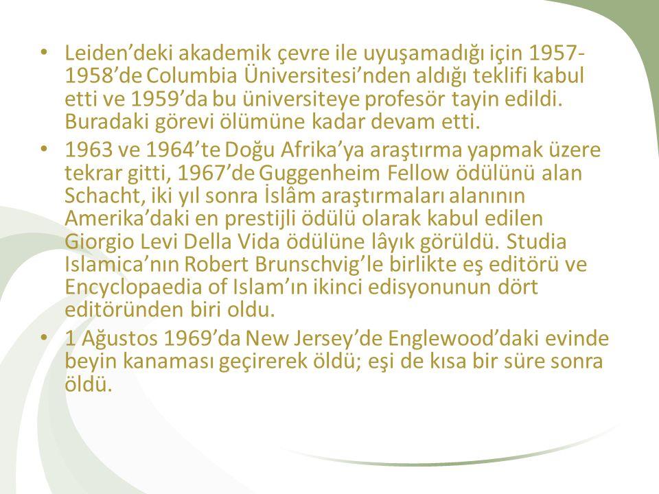 Leiden'deki akademik çevre ile uyuşamadığı için 1957-1958'de Columbia Üniversitesi'nden aldığı teklifi kabul etti ve 1959'da bu üniversiteye profesör tayin edildi. Buradaki görevi ölümüne kadar devam etti.