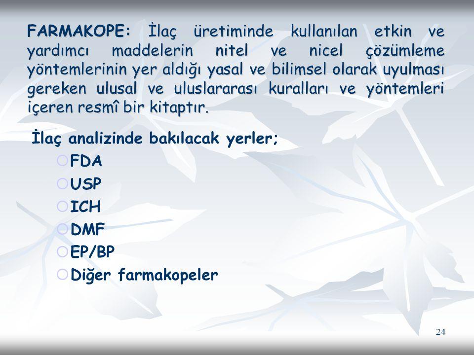FARMAKOPE: İlaç üretiminde kullanılan etkin ve yardımcı maddelerin nitel ve nicel çözümleme yöntemlerinin yer aldığı yasal ve bilimsel olarak uyulması gereken ulusal ve uluslararası kuralları ve yöntemleri içeren resmî bir kitaptır.