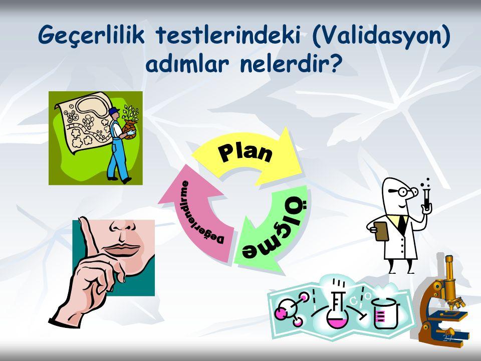 Geçerlilik testlerindeki (Validasyon)