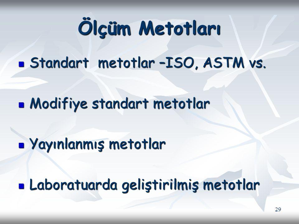 Ölçüm Metotları Standart metotlar –ISO, ASTM vs.