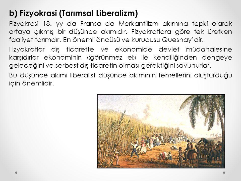 b) Fizyokrasi (Tarımsal Liberalizm)