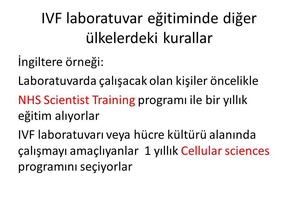 IVF laboratuvar eğitiminde diğer ülkelerdeki kurallar
