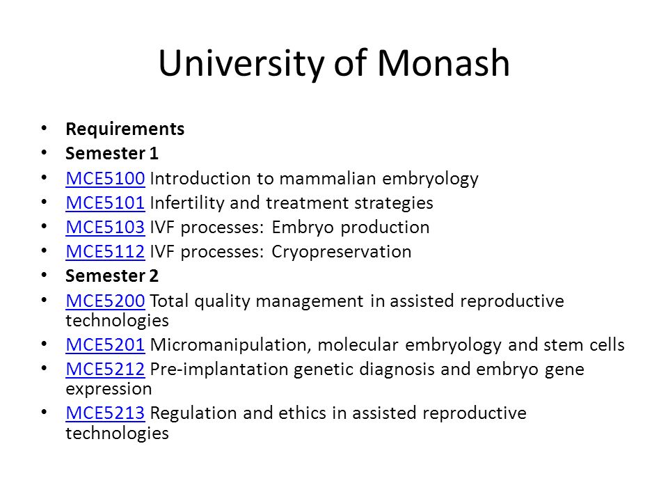 University of Monash Requirements Semester 1