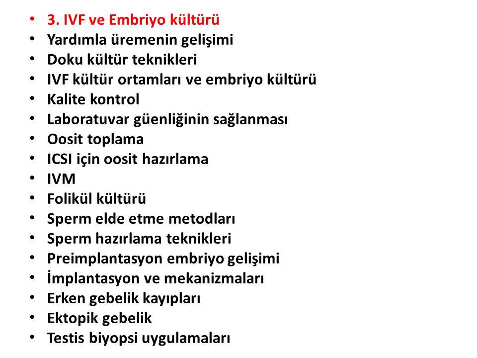 3. IVF ve Embriyo kültürü Yardımla üremenin gelişimi. Doku kültür teknikleri. IVF kültür ortamları ve embriyo kültürü.