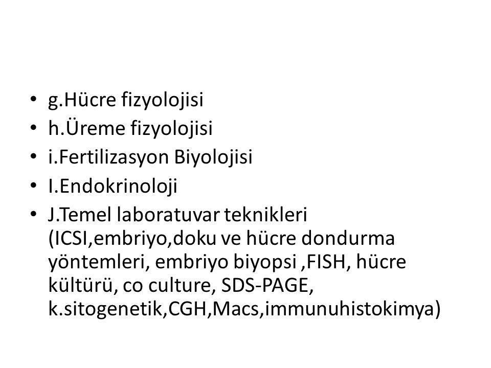 g.Hücre fizyolojisi h.Üreme fizyolojisi. i.Fertilizasyon Biyolojisi. I.Endokrinoloji.