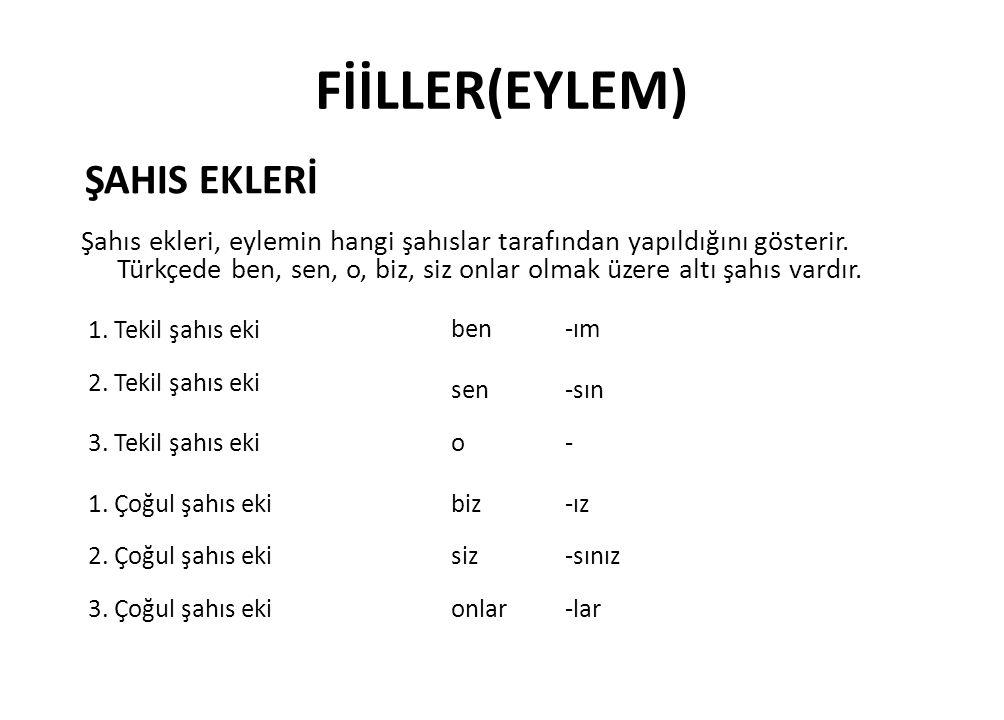 FİİLLER(EYLEM) ŞAHIS EKLERİ