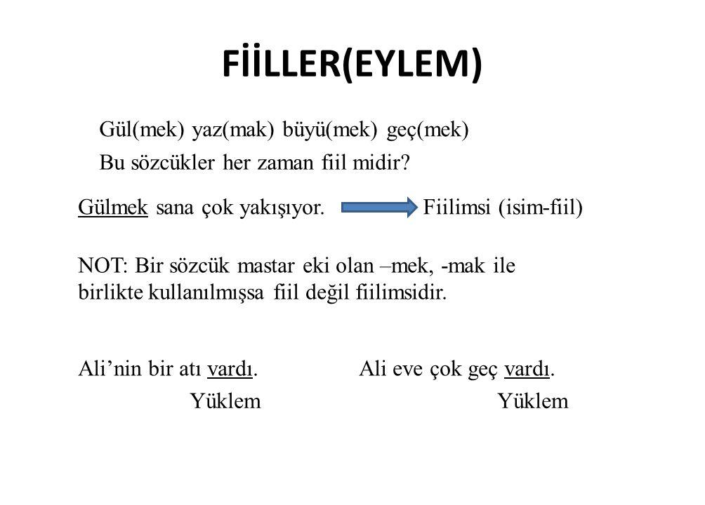 FİİLLER(EYLEM) Gül(mek) yaz(mak) büyü(mek) geç(mek)