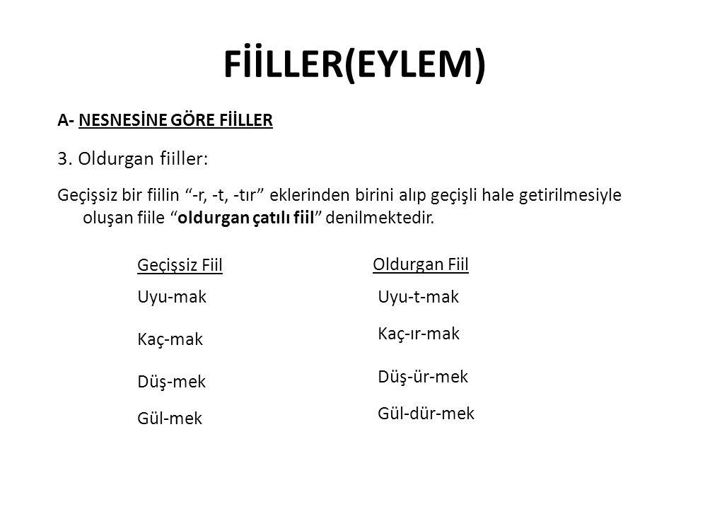 FİİLLER(EYLEM) 3. Oldurgan fiiller: A- NESNESİNE GÖRE FİİLLER