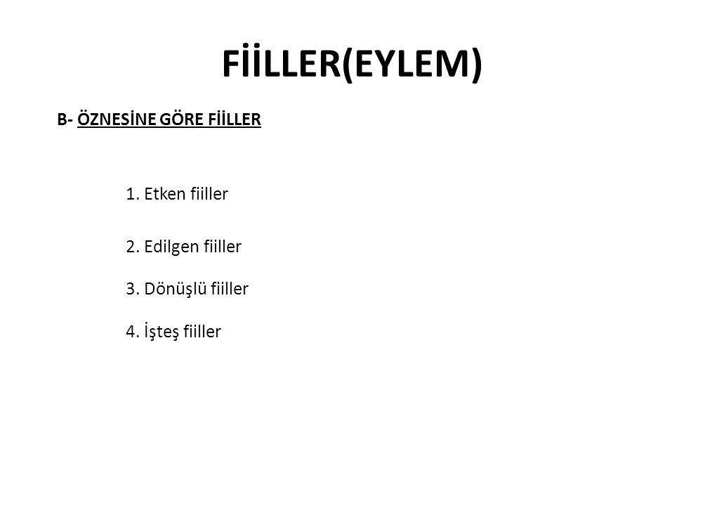 FİİLLER(EYLEM) B- ÖZNESİNE GÖRE FİİLLER 1. Etken fiiller