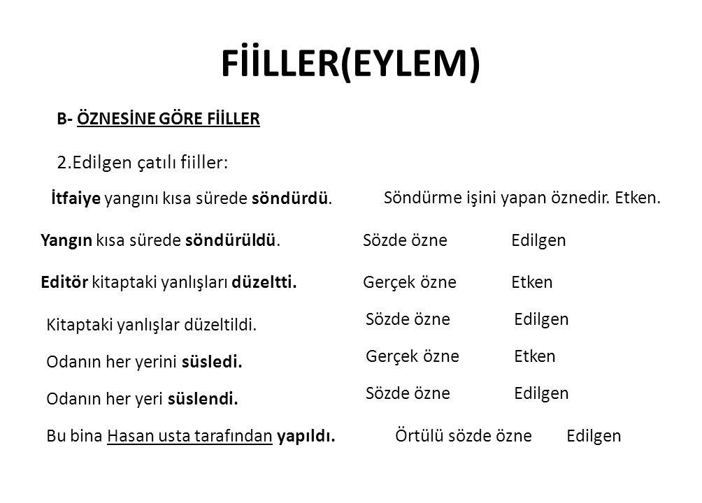 FİİLLER(EYLEM) 2.Edilgen çatılı fiiller: B- ÖZNESİNE GÖRE FİİLLER