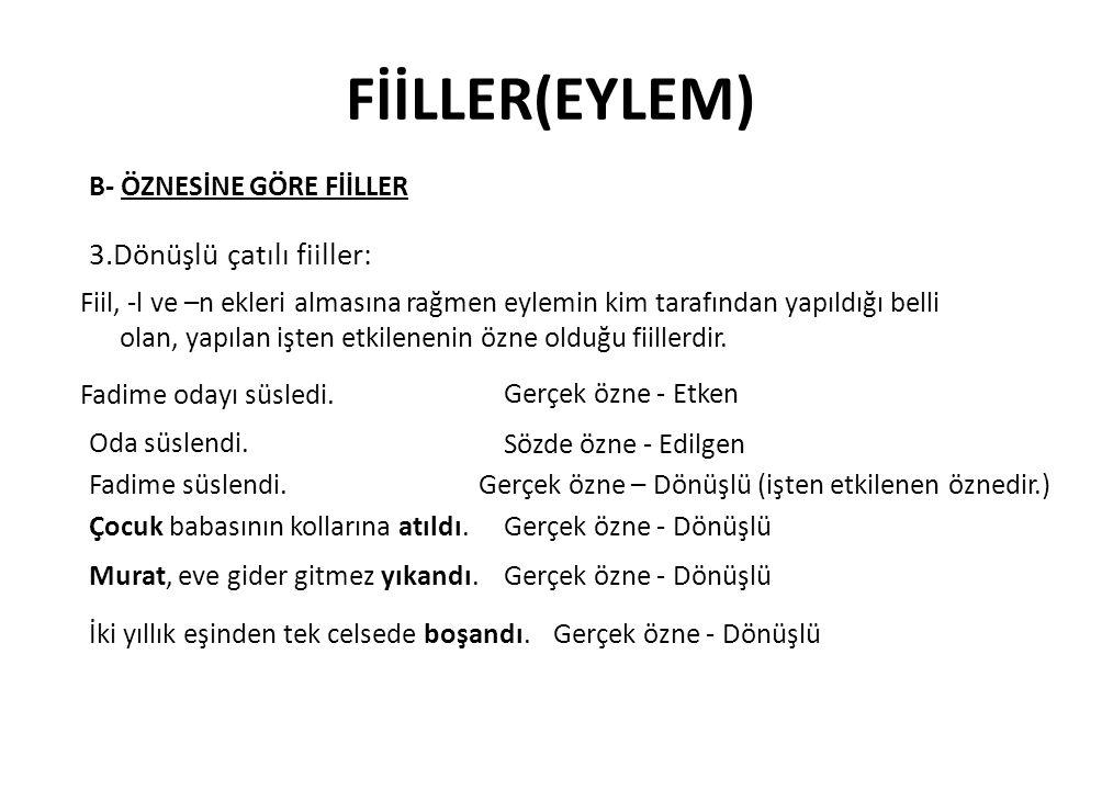 FİİLLER(EYLEM) 3.Dönüşlü çatılı fiiller: B- ÖZNESİNE GÖRE FİİLLER