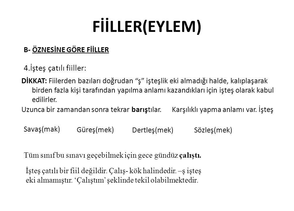 FİİLLER(EYLEM) 4.İşteş çatılı fiiller: B- ÖZNESİNE GÖRE FİİLLER