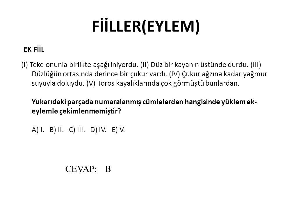 FİİLLER(EYLEM) CEVAP: B EK FİİL