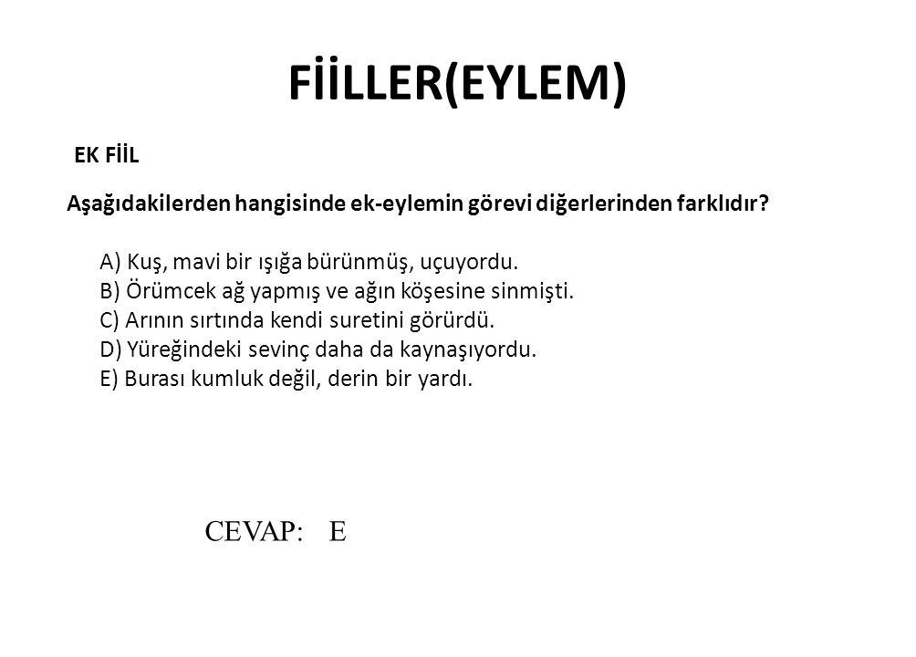 FİİLLER(EYLEM) CEVAP: E EK FİİL