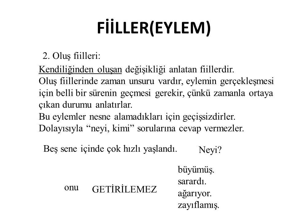 FİİLLER(EYLEM) 2. Oluş fiilleri: