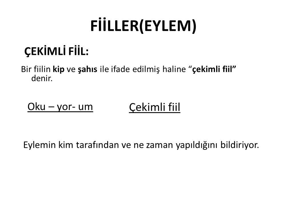 FİİLLER(EYLEM) ÇEKİMLİ FİİL: Çekimli fiil Oku – yor- um