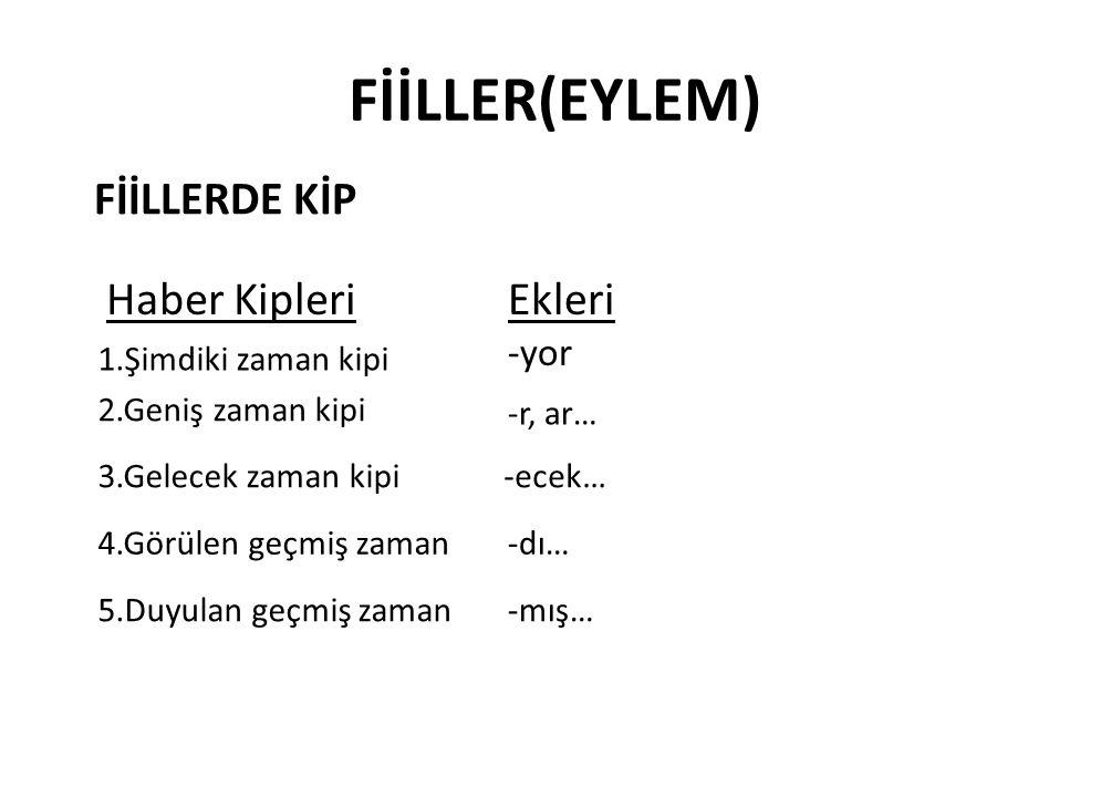 FİİLLER(EYLEM) FİİLLERDE KİP Haber Kipleri Ekleri -yor