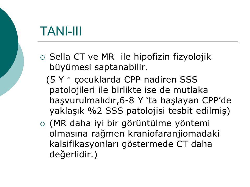TANI-III Sella CT ve MR ile hipofizin fizyolojik büyümesi saptanabilir.