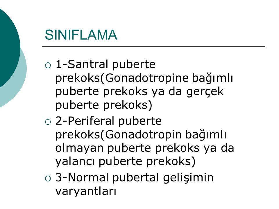 SINIFLAMA 1-Santral puberte prekoks(Gonadotropine bağımlı puberte prekoks ya da gerçek puberte prekoks)