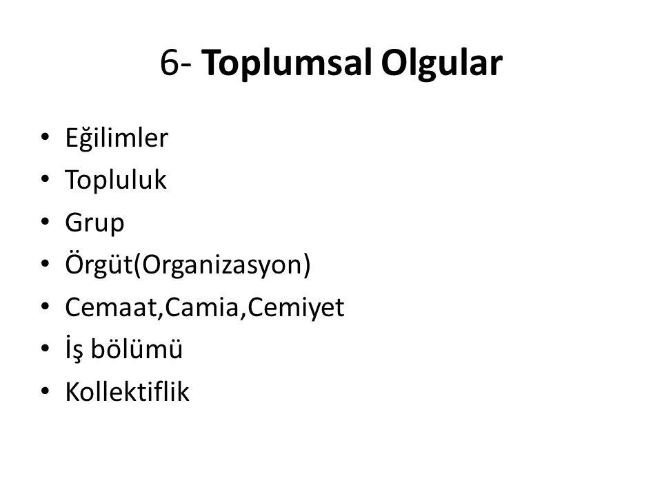 6- Toplumsal Olgular Eğilimler Topluluk Grup Örgüt(Organizasyon)
