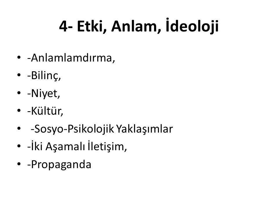 4- Etki, Anlam, İdeoloji -Anlamlamdırma, -Bilinç, -Niyet, -Kültür,