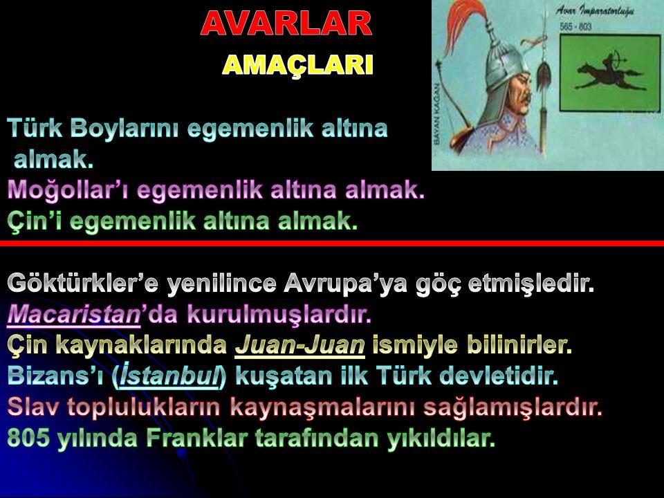 AVARLAR AMAÇLARI Türk Boylarını egemenlik altına almak.