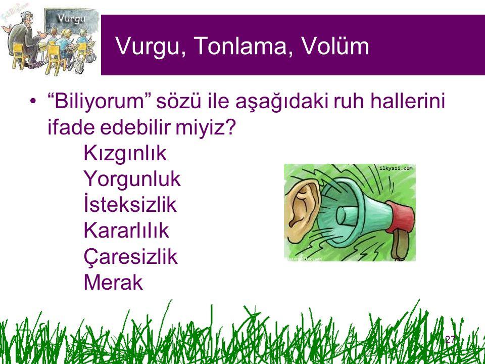 Vurgu, Tonlama, Volüm
