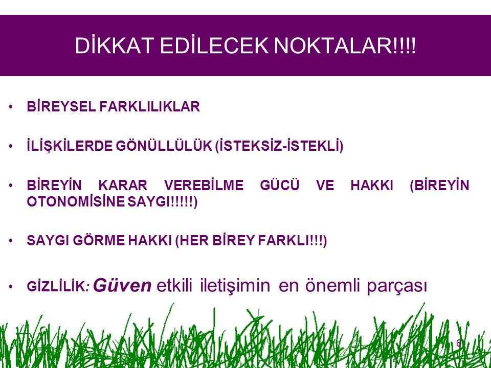 DİKKAT EDİLECEK NOKTALAR!!!!