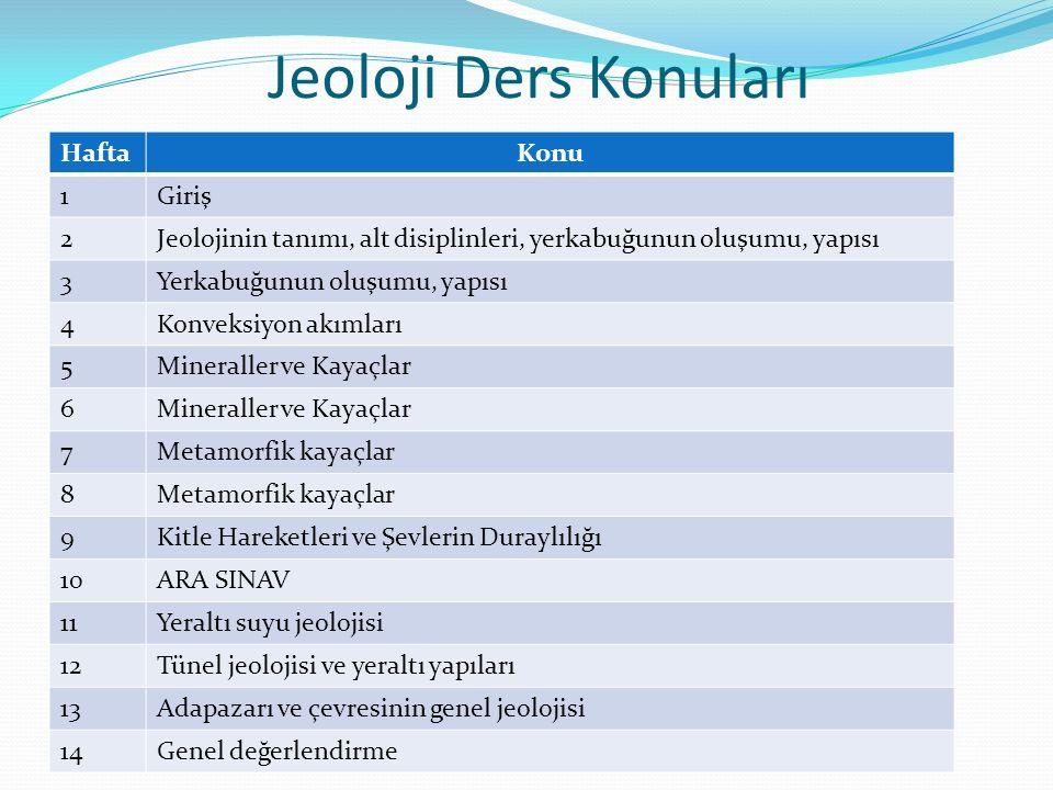 Jeoloji Ders Konuları Hafta Konu 1 Giriş 2