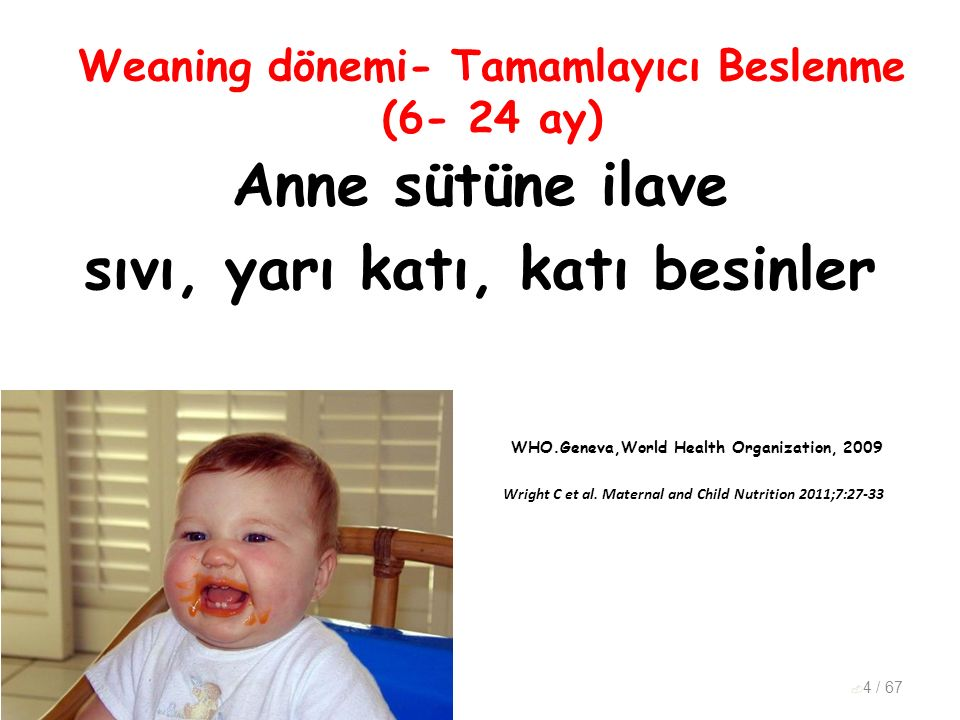Weaning dönemi- Tamamlayıcı Beslenme (6- 24 ay)